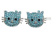 A Pair Of Aqua Blue Crystal Hello Kitty Cat Hair Clips A176