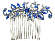 Hair Comb Gorgeous Sapphire Colour Blue Crystal Floral Wedding Party Prom