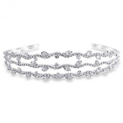 Bling Jewellery Triple Rows of Round and Leaf Crystals Bridal Tiara Headband Silver Plated