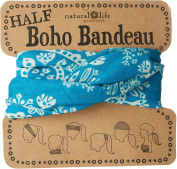Natural Life Womens Printed Half Boho Bandeau One Size Turquoise blue/white