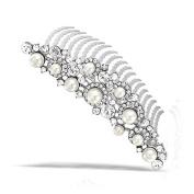 Bling Jewellery Simulated Pearl and Rhinestone Bridal Tiara Comb Rhodium Plated