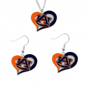 Aminco Auburn Tigers NCAA Swirl Heart Pendant Necklace And Earring Set Charm Gift