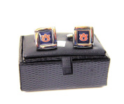 NCAA Auburn Tigers Square Cufflinks With Square Shape Engraved Logo Design Gift Box Set