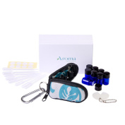 Stylish Essential Oil Key Chain with 8 5/8 Dram (2 ml) Vials and Blank Labels - Fits Easily in a Purse or Makeup Bag - Carry Your Favourite Essential Oils Everywhere You Go!