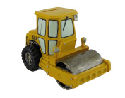 Yellow Steam Roller Hand Crafted Coin Bank