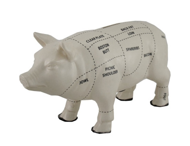 White Ceramic Pig Shaped Coin Bank Butcher Chart Piggy Bank 15cm .