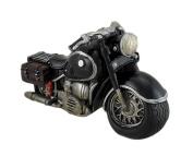 Black Cruiser Style Motorcyle Sculptural Coin Bank