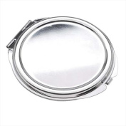 Silver Tone Compact Mirror With Bezel Textured Ovals Patterns - 61.5mm