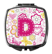 Letter D Flowers and Butterflies Pink Compact Mirror CJ2005-DSCM