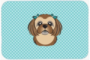 Checkerboard Blue Chocolate Brown Shih Tzu Mouse Pad, Hot Pad or Trivet BB1187MP