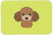 Checkerboard Lime Green Chocolate Brown Poodle Mouse Pad, Hot Pad or Trivet BB1318MP