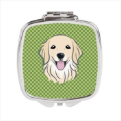 Green Chequered Golden Retriever Compact Mirror BB1137SCM