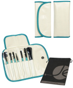 7 Piece White and Turquoise Travel Cosmetic Beauty Set Roll Up Case with Snap and Bonus Drawstring Bag