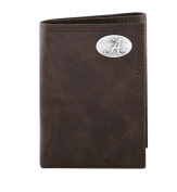 NCAA Alabama Crimson Tide Brown Wrinkle Leather Trifold Concho Wallet, One Size