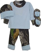 BONNIE & CHILDRENS Blue L/S T/Pant/Hat/Booties Mossy Oak in Poly Bag Newborn