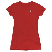 Trevco Star Trek-Engineering Uniform - Short Sleeve Junior Sheer Tee - Red, 3X
