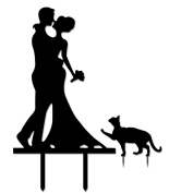 Acrylic Silhouette Wedding Engagement Cake Topper Pick Cake Decoration Accessories Black Couples with Cat
