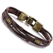 Halukakah Men's Leather Bracelet Braided Wristband Vintage Style Mix Golden Metal