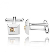 Cufflinks with Glolden Shadow. Crystals - Comes with Gift Box - Ideal Gift for Men