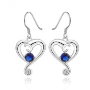 NYKKOLA Beautiful Heart Pendant Blue Ocean Crystal Fashion 925 Sterling Silver plated Jewellery Dangle Earrings