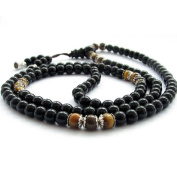 Ovalbuy 6mm 108 Black Stone And Tiger Eye Rosary Prayer Beads Mala