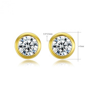 Waterlucy 18ct Gold Plated 5.5mm Round Sparking Cubic Zirconia Diamond Stud Earrings