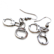 Movie Inspired Silver Tone Dangle Handcuff Earrings.