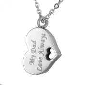 """HOUSWEETY Stainless Steel """"My Dad Love Always"""" Heart Urn Necklace Memorial Ashes Keepsake Pendant - Cremation Jewellery"""