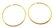 Gold 6cm Women's Fashion Hoop CLIP ON Earrings Medium Size non pierced