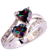 YAZILIND Engagement Heart Ring Colourful Crystal Bridal Anniversary Women Jewellery
