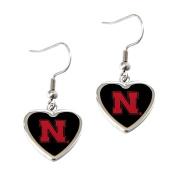 Nebraska Cornhuskers Huskers NFL Sports Team Non-Swirl Heart Shape Dangle Earring Charm Jewellery Pendant