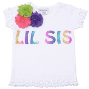 "Reflectionz Baby Girls White ""Lil Sis"" Floral Ruffled Hem Top 12M"