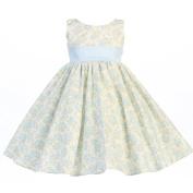Lito Baby Girls Light Blue Floral Print Poly Shantung Sash Easter Dress 3-6M