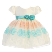 Lito Baby Girls Ivory Teal Rosette Embroidered Organza Easter Dress 12-18M
