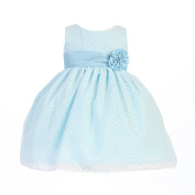 Lito Baby Girls Blue Cotton Burnout Special Occasion Easter Dress 6-12M