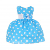 Baby Girls Blue White Polka Dot Bow Sash Headband Special Occasion Dress 6M