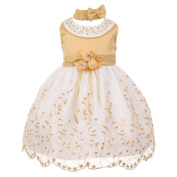 Baby Girls Gold White Floral Jewelled Easter Flower Girl Bubble Dress 6M