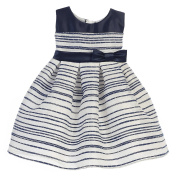 Sweet Kids Baby Girls Navy Stripe Pattern Woven Satin Easter Dress 18M