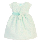Sweet Kids Baby Girls Mint Bouquet Embroidered Organza Easter Dress 9M