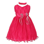 Baby Girls Fuchsia Lace Overlay Flower Sash Special Occasion Dress 3M