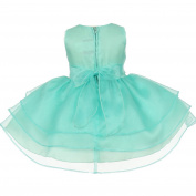 Baby Girls Aqua Green Rhinestuds Bow Sash Flower Girl Headband Dress 24M