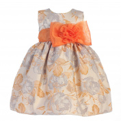 Crayon Kids Baby Girls Orange Flocked Flower Adorned Easter Dress 24M