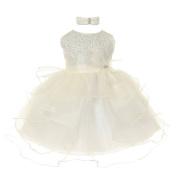 Baby Girls Ivory Organza Rhine studs Bow Sash Flower Girl Dress 18M