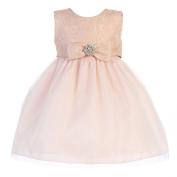 Crayon Kids Baby Girls Pink Embroidered Flower Adorned Easter Dress 24M