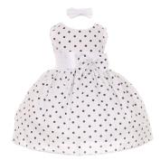Baby Girls Navy Polka Dot Headband Special Occasion Dress 18M