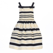 Sweet Kids Baby Girls Ivory Woven Striped Organza Special Occasion Dress 12M