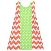 Baby Girls 18M Orange Chevron Green Dot Fall Jumper Dress