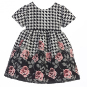 Sweet Kids Baby Girls Rose Print Houndstooth Jacquard Christmas Dress 6-9M