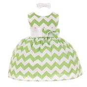 Baby Girls Sage Chevron Stripe Headband Special Occasion Dress 6M