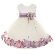Kids Dream Baby Girls Ivory Lavender Satin Petal Floating Flower Girl Dress 24M